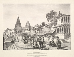 Benares, A Brahmin placing a garland on the holiest spot in the sacred city.